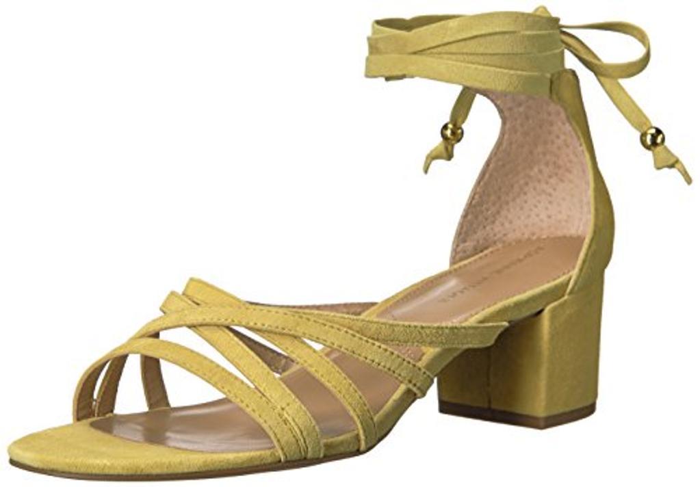 ADRIENNE VITTADINI Footwear Women's Alesia Heeled Sandal, Yellow, 7.5 M US