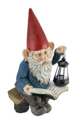 Reading Garden Gnome W/ Lantern Outdoor Statue