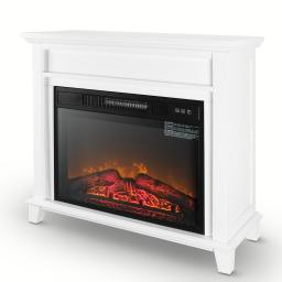 """Della 28"""" 1400W Freestanding Burning Log Flame Electric Fireplace Stove Heater Portable with Remote Control - White"""