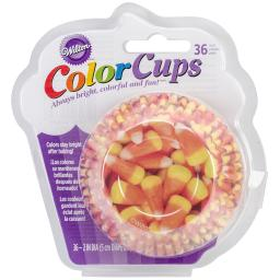 Clearcup Standard Baking Cups-Photo Candy Corn 36/Pkg W2664