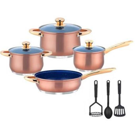 Kung Fu KF8900 Copper Look Cookware Set - Piece of 10