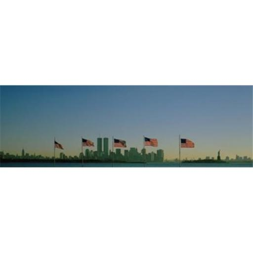 Panoramic Images PPI79464L American flags in a row New York City New York State USA Poster Print by Panoramic Images - 36 x 12
