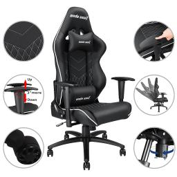 Anda Seat PVC Leather High-back Racing Gaming Chair Adjustable Recliner Swivel Rocker w/ Headrest & Lumbar Cushion
