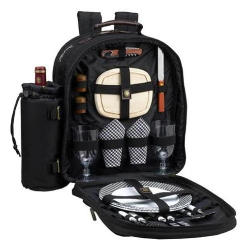 Picnic at Ascot 080-BLK Classic Picnic Backpack for 2 in Black with Gingham Napkins