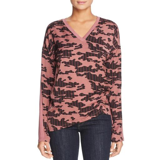 Kenneth Cole Womens Mixed Media Printed Henley Top