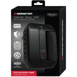 Monster MWS11002US Essentials 6 Outlet Wall Tap Surge Protector with 2 USB
