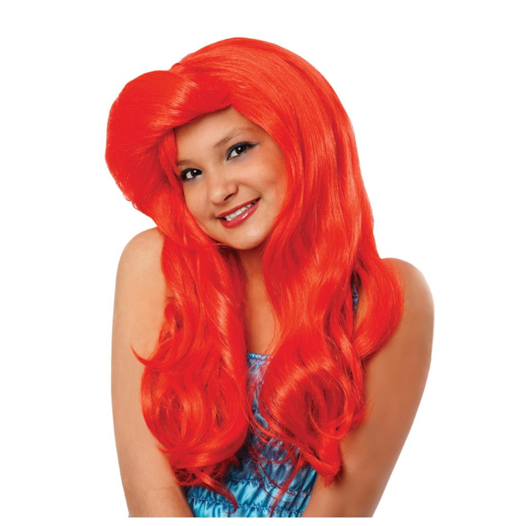 Ariel Girls Wig The Little Mermaid Child Youth Red Long Disney Princess Movie