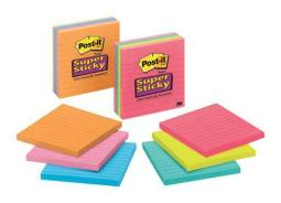 """Post-it 675-3ssmx Super Sticky Lined Notes, 4""""x4"""""""