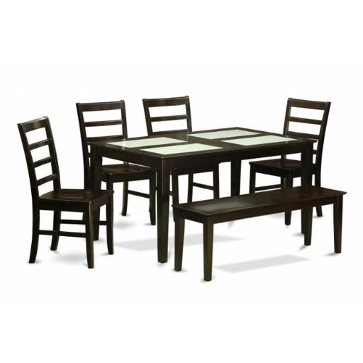 East West Furniture CAPF6G-CAP-W 6 Piece Dining Room Table With Bench Set-Glass Top Table and 4 Dining Chairs and Bench