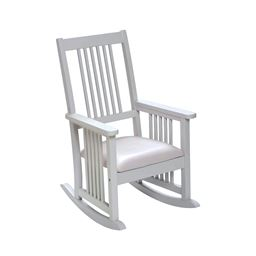 Gift Mark 4200W Mission style Childrens Rocking chair with Upholstered Seat - White Color