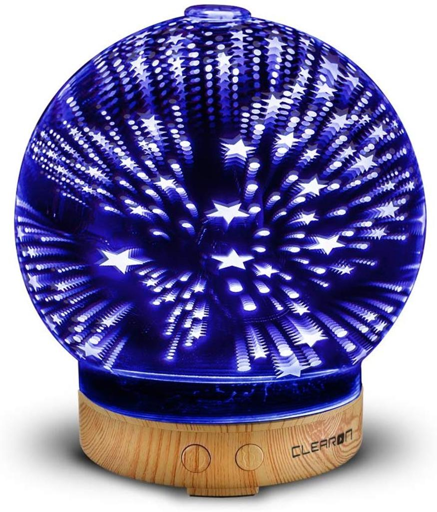3D Glass Essential Oil Diffuser - Ultrasonic Aroma Scent Diffuser - Cool Mist Electric Humidifier with Color Changing LED Night Lights - for Aromatherapy and Olive Coconut Oil - by Clearon (D-025S)