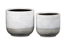 Urban Trends Ceramic Round Pot with Black Inner Surface, Dotted Glazed Body and Banded Bottom in Gloss Finish, Ivory - Set of 2
