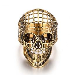 Hollow skull rings for men rock Punk Ring Stainless Steel Ring - 10, Gold