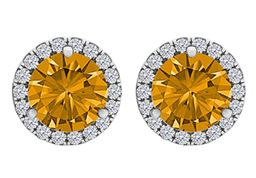 Citrine and CZ Round Halo Stud Earrings in White Gold