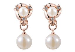 Latest Design Simulated Pearl Drop Earrings For Women Vermeil