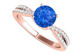 Rose Gold Criss Cross Design Ring with CZ and Sapphire