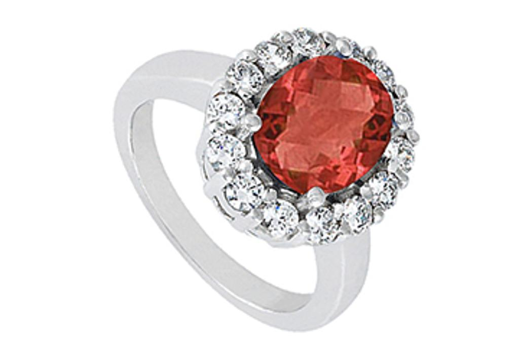 14K White Gold Fashion Oval Created Ruby Ring with Triple AAA Quality CZ of 3.50 Carat Totaling