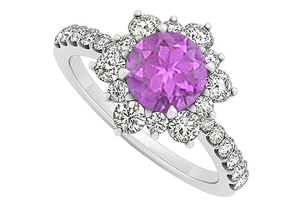 14K White Gold February Birthstone Amethyst and Cubic Zirconia Floral Engagement Ring
