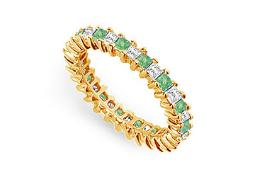 Cubic Zirconia and Created Emerald Eternity Band in 14K Yellow Gold 2 CT TGW First Wedding Anniv