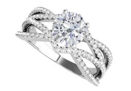 Cubic Zirconia Criss Cross Design Ring in White Gold