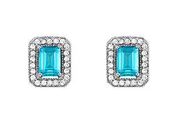 December Birthstone Blue Topaz Square Halo Earrings with CZ in 14K White Gold