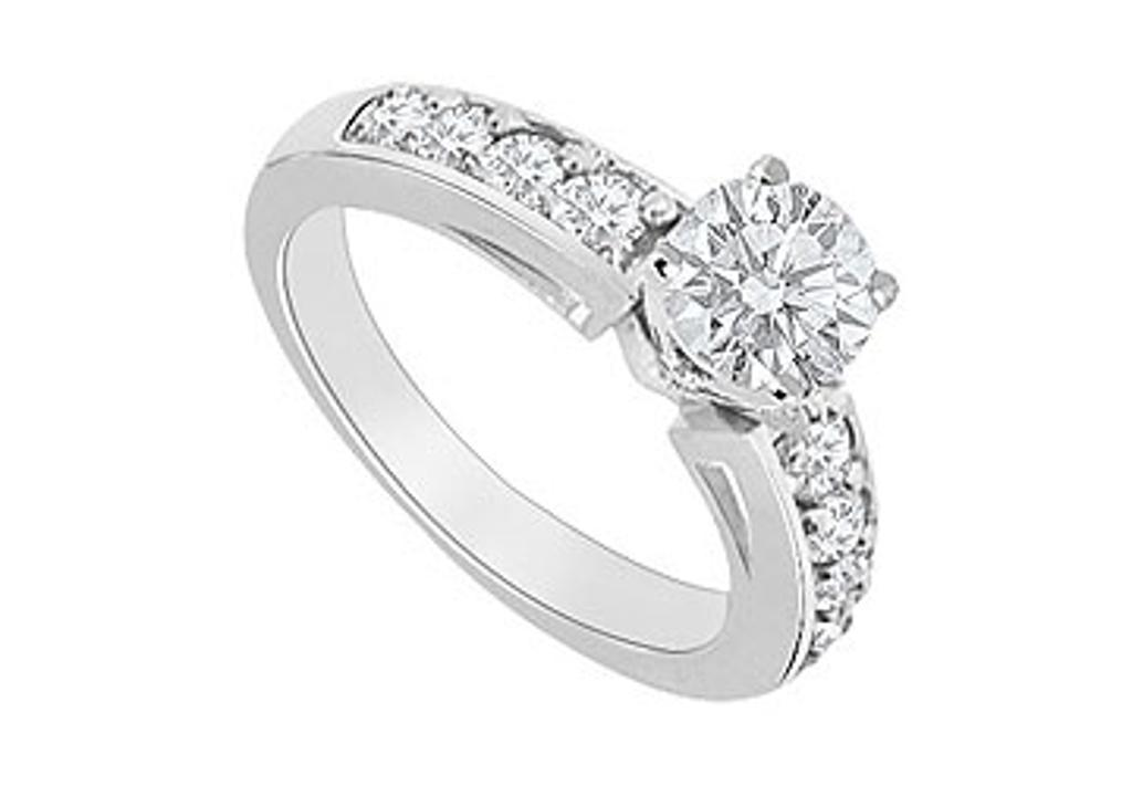 14K White Gold Engagement Ring with Triple AAA Quality CZ of One Carat Total Gem Weight