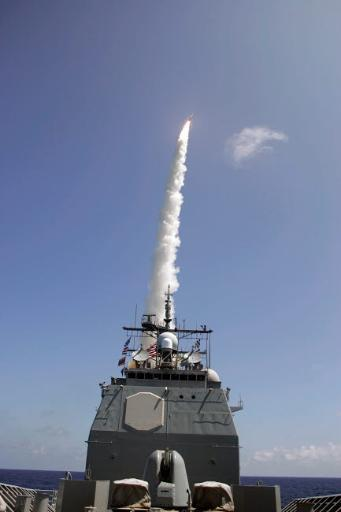 A standard missile 2 is launched from the Aegis cruiser USS Lake Erie Poster Print by Stocktrek Images