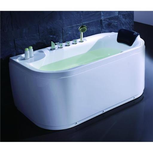 White Acrylic 5 inch Soaking Tub with Fixtures