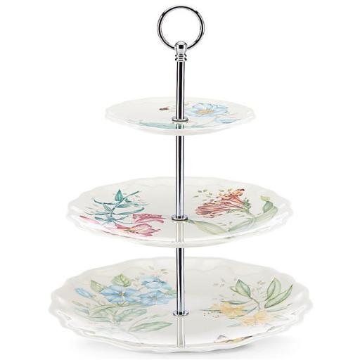 Lenox 855603 Butterfly Meadow Melamine Dinnerware 3 Tiered Server - 3 mm