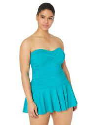 Chaps Women's Plus Size Rouched Bandeau Skirted, Blue Lagoon//Solids, Size 16.0