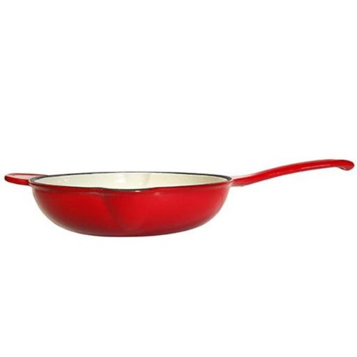 Fancy Cook Enamel Cast Iron Red Deep Skillet - 11 in.