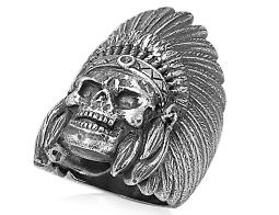 David Sigal Mens Indian Skull Ring in Stainless Steel