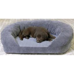 K&H Pet Products 4722 Gray Velvet K&H Pet Products Ortho Bolster Sleeper Pet Bed Large Gray Velvet 40 X 33 X 9.5 4722