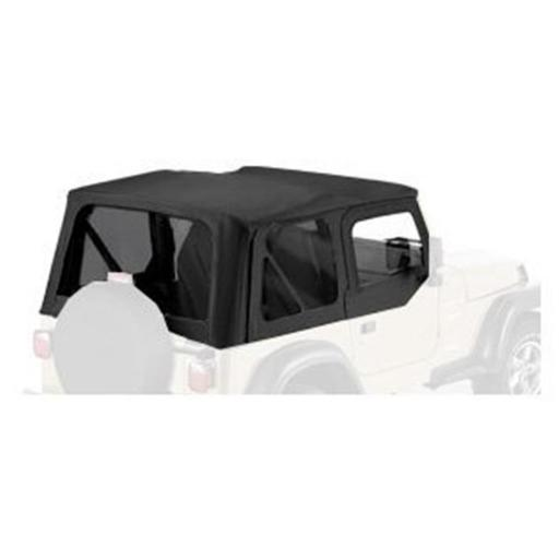 Bestop 79122-01 Soft Top Clear Windows for 1997-2002 Jeep Wrangler, Black