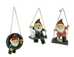 Swinging Garden Gnome Statues Tire Shovel and Wood Set of 3