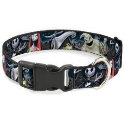 "Plastic Clip Collar - Nightmare Before Christmas 4-Character Group Cemetery Pet Collar 1.0"" Large"