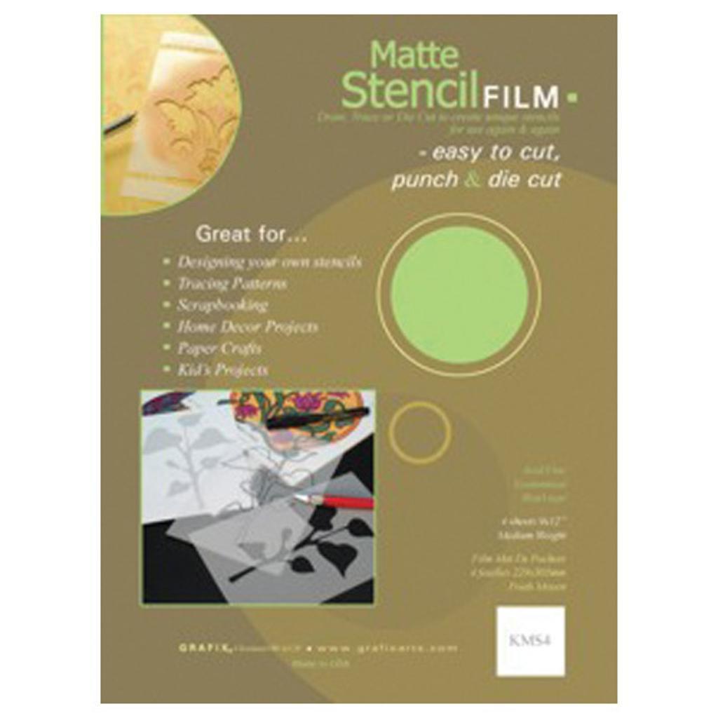 STENCIL FILM MATTE .005 9X12 4 PACK