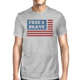 Free & Brave US Flag American Flag Shirt Mens Gray Cotton Tshirt