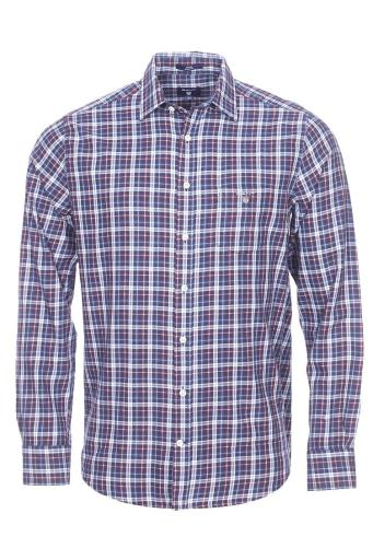 GANT Men's Tartan Plaid Shirt, Dark Indigo, Medium