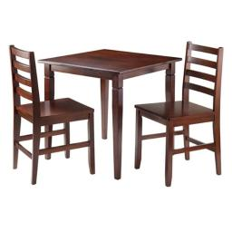 Winsome 94363 29.13 x 29.53 x 29.53 in. Kingsgate Dinning Table with 2 Hamilton Ladder Back Chairs, Walnut - 3 Piece