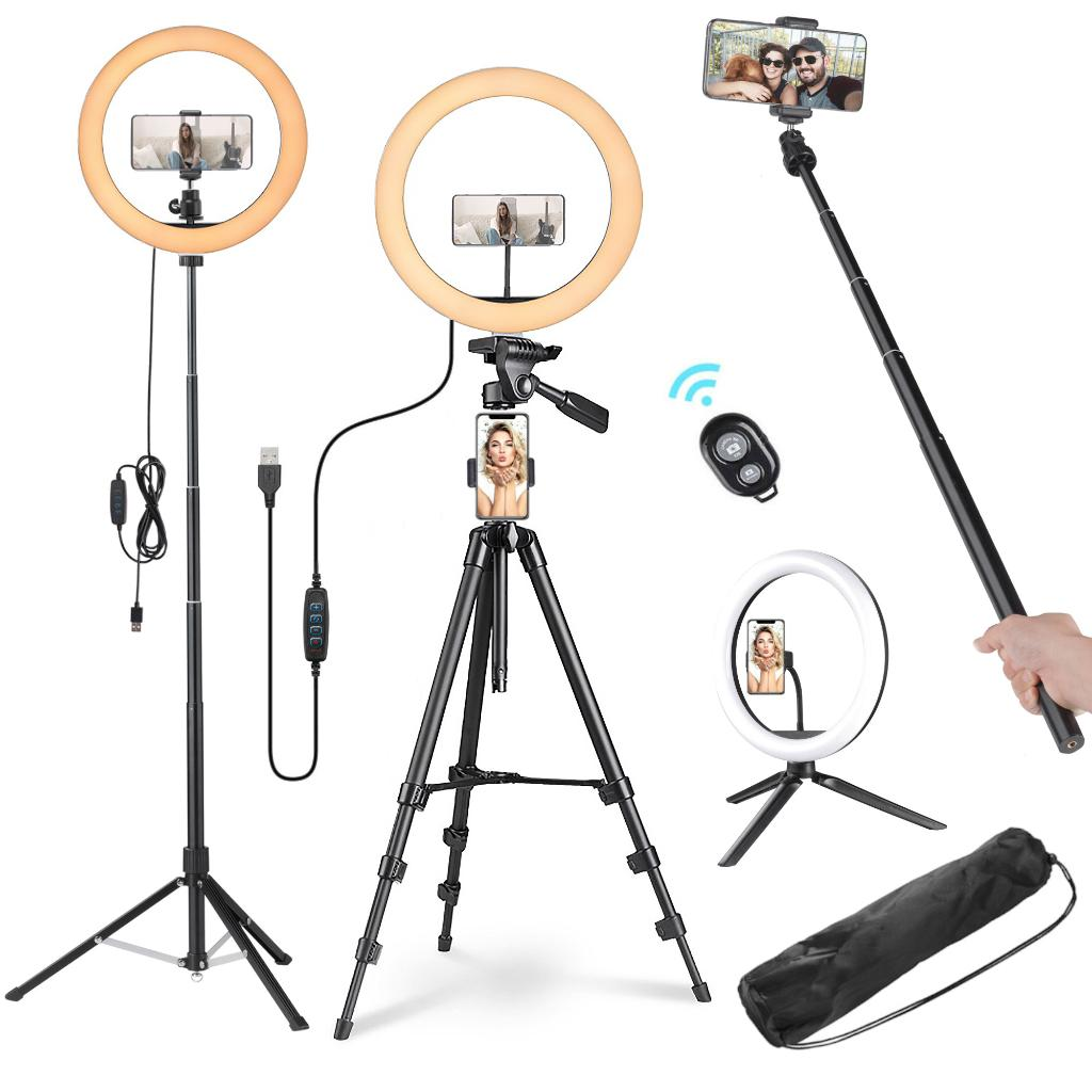 """13"""" 40W LED Ring Light with Tripod Dimmable 3200-5500K Camera Smartphone Holder Photo Video Makeup Lighting Stand Kit"""