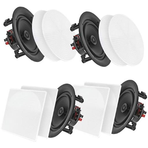 Pyle Home PDICBT266 6.5 in. Bluetooth Ceiling or Wall Flush Mount Home Speaker Kit - Pack of 4