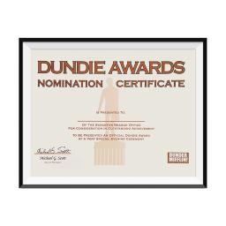 Dundie Awards Nomination Certificate Michael Scott The Office TV Show Poster
