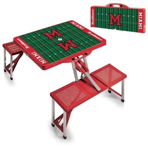 Picnic Time 811-00-100-335-0 Miami University Redhawks Digital Print Portable Folding Picnic Table with Four Seats, Red