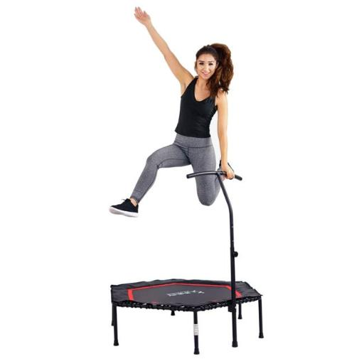 Sunny Health & Fitness NO. 079 Hexagon Rebounder Exercise Trampoline with Adjustable Handlebar