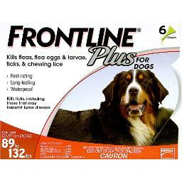 FRONTLINE 89-132-6PK-PS FRONTLINE FLEA CONTROL PLUS FOR DOGS AND PUPPIES 89-132 LBS 6 PACK