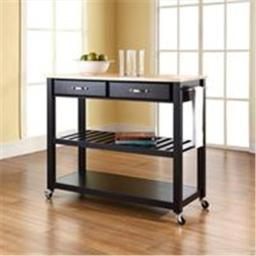 Crosley Furniture KF30051BK Natural Wood Top Kitchen Cart-Island