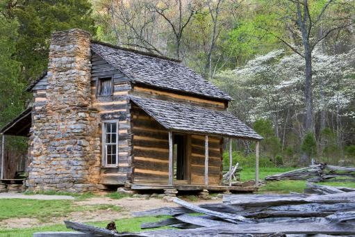 John Oliver Cabin in a forest, Cades Cove, Great Smoky Mountains National Park, Tennessee, USA Poster Print