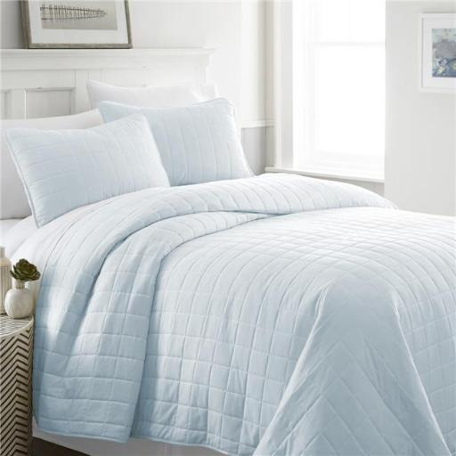 DDI 2275355 Soft Essentials? Premium Ultra Soft Square Pattern Quilted Coverlet Set - King - Pale Blue Case of 9