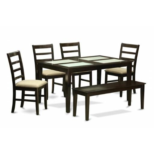 East West Furniture CAPF6G-CAP-C 6 Piece Dining Set With Benchglass Top Dining Table and 4 Dining Chairs and Bench